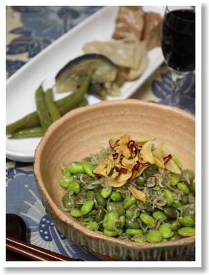 枝豆としらすのアヒージョ