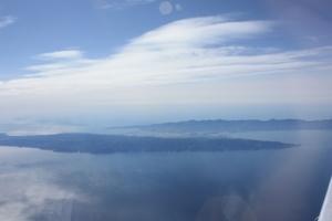 飛行機から佐渡島が見えます^^