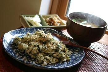 ほうれん草と明太子の炒飯