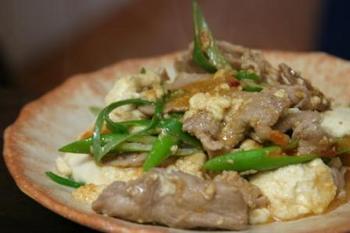 豚と豆腐のとうがらし味噌炒