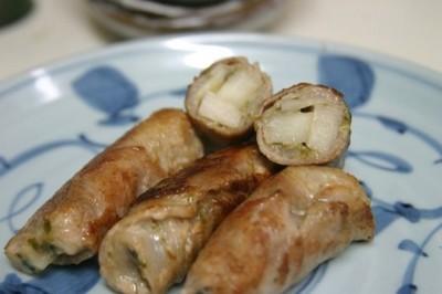 豚肉のふき味噌による筍のグルグル巻き