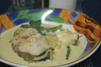 鱈のカレー風味のクリーム煮