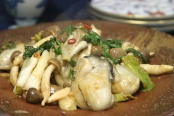 牡蠣の味噌炒め