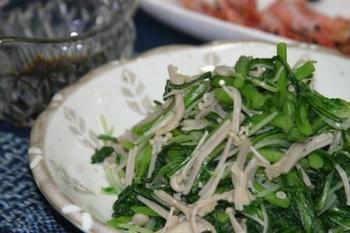 春菊とえのき水菜の和え物