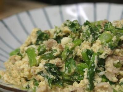 青菜と豚肉の炒り豆腐
